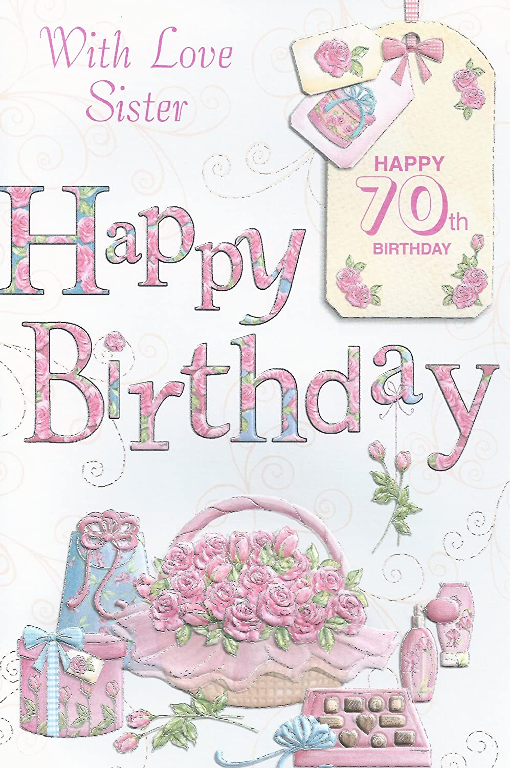 Amazon With Love Sister Happy 70th Birthday card Office – Birthday Card for Sister