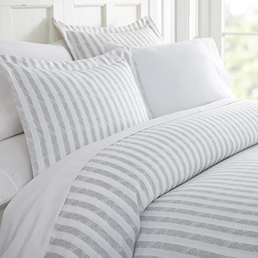 Queen 3 Piece Ultra Soft Down Quilt Cover Bedding Cover Sets,Striped Black Gray