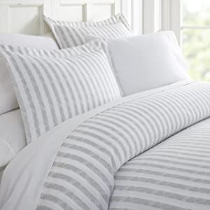 ienjoy Home 3 Piece Rugged Stripes Patterned Home Collection Premium Ultra Soft Duvet Cover Set, King, Light Gray
