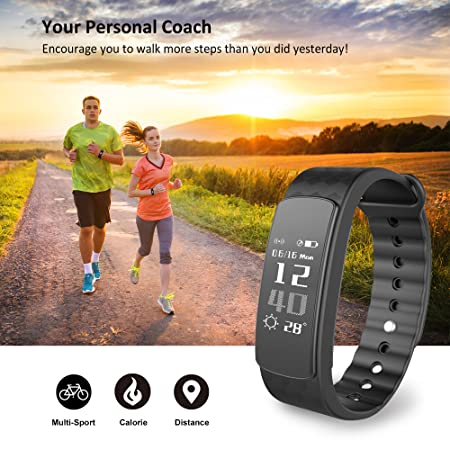 Activity Tracker Heart Rate Monitor, Waterproof Pedometer Watch Smart Bracelet Fitness Band Sleep Monitor Calorie Step Counter Women Men for IOS Android