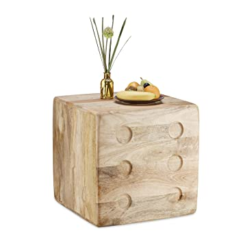 Relaxdays Mango Wood Side Table Cube Deco Dice Footstool Coffee