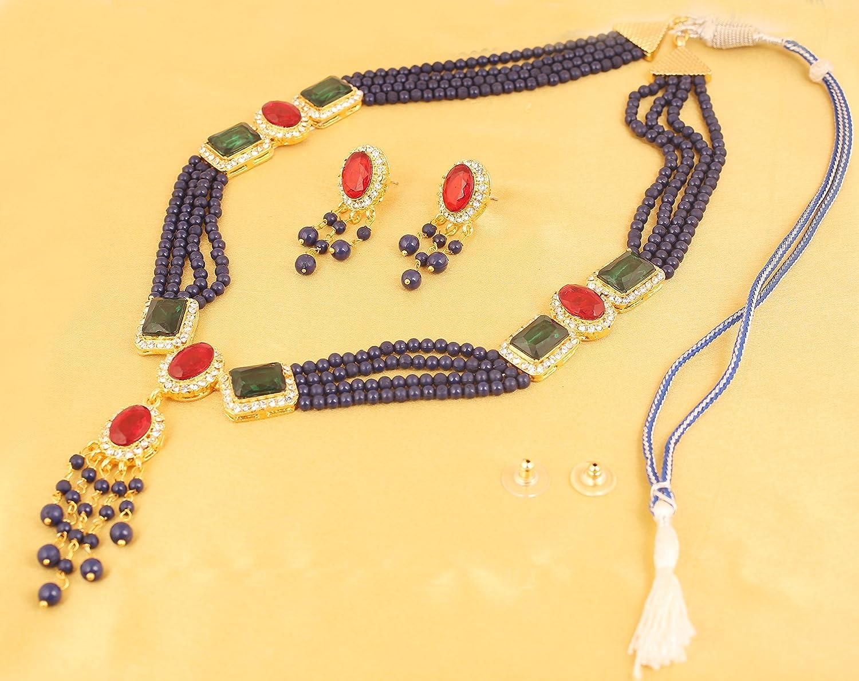 faux rubis faux /émeraude et perles bleues pour femme Ton dor Touchstone Longue couche multicolore joliment clout/ée de style indien clair