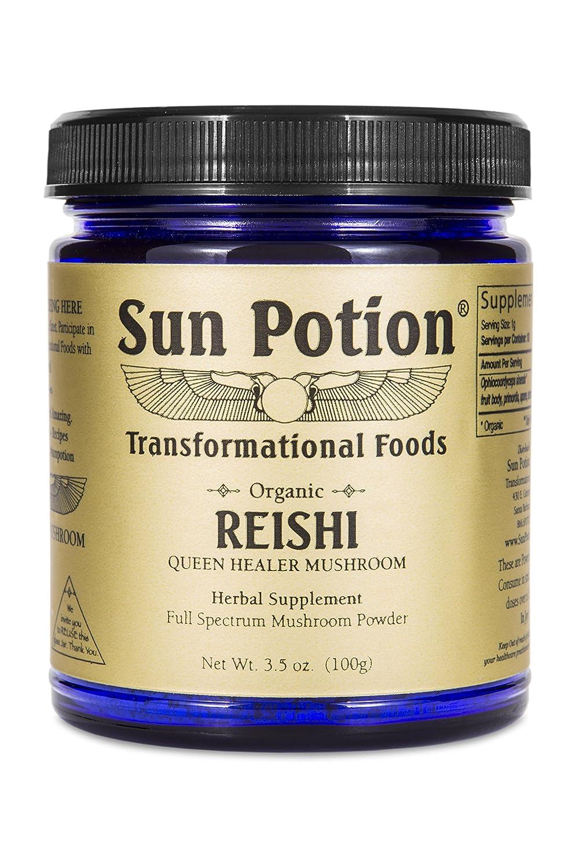 Reishi Mushroom Powder 100g by Sun Potion – Adaptogenic Superfood, Certified Organic, Pure Ganoderma Lucidum Ling Zhi, Immune Booster, Vegan Herbal Supplement, and Adaptogen