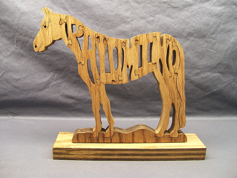 Handmade Wooden Woodimal Horse Puzzle Palomino