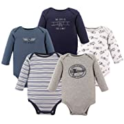 Hudson Baby Unisex Baby Long Sleeve Cotton Bodysuits, Pilot Long Sleeve 5 Pack, 3-6 Months (6M)