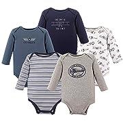Hudson Baby Unisex Baby Long Sleeve Cotton Bodysuits, Pilot Long Sleeve 5 Pack, 3-6 Months (6M)