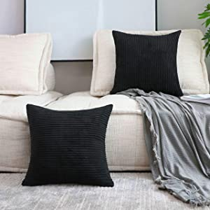 Home Brilliant Striped Velvet Cushion Cover for Chair Supersoft Handmade Decorative Pillowcase for Bed Bench, Black, 2 Packs 20x20 Inches(50cm)