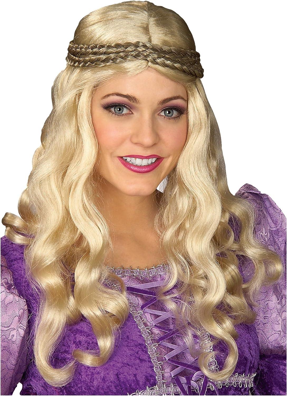 Blonde Medieval Maiden Princess Wig Celtic Long Braid Women Costume Accessory
