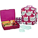 Bentology Lunch Bag and Box Set for Girls - Includes Insulated Bag, Bento Box, 5 Containers and Ice Pack - Kitty