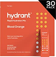 Hydrant Blood Orange Rapid Hydration Mix Version 2, Electrolyte Powder, Dehydration Recovery Drink Blend, Simple Ingredients,