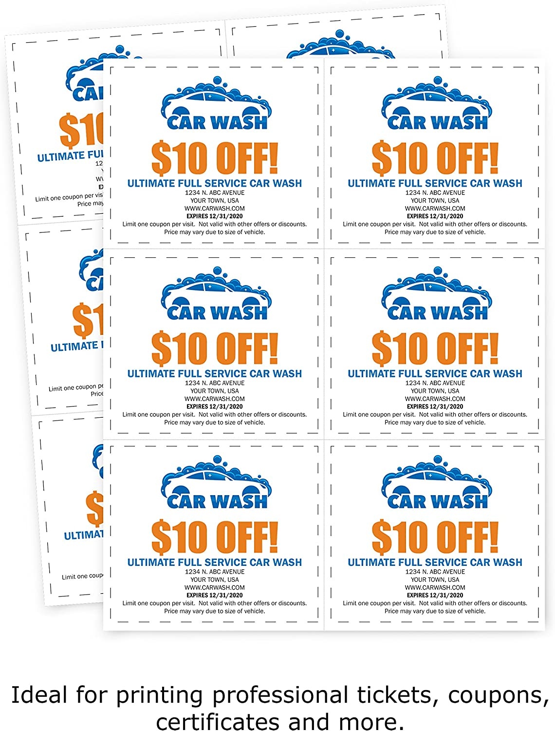 Amazon Com Printworks Professional Perforated Paper For Tickets Coupons Certificates And More 8 5 X 11 24 Lb 3 Perfs 3 2 3 And 7 1 3 From Bottom 4 1 4 From Left 500 Sheets White 04334 Office Products