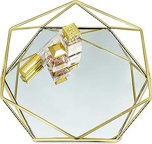 Gold Mirror Tray Catch-All, Jewelry Tray with Non-Slip Base, Perfume Tray for Dresser, HGold Tray Decorative Tray, Jewelry Organizer Tray, Vanity Trays for Dressers, Bathroom Tray, Glass Tray, Hexagonal Decor Tray