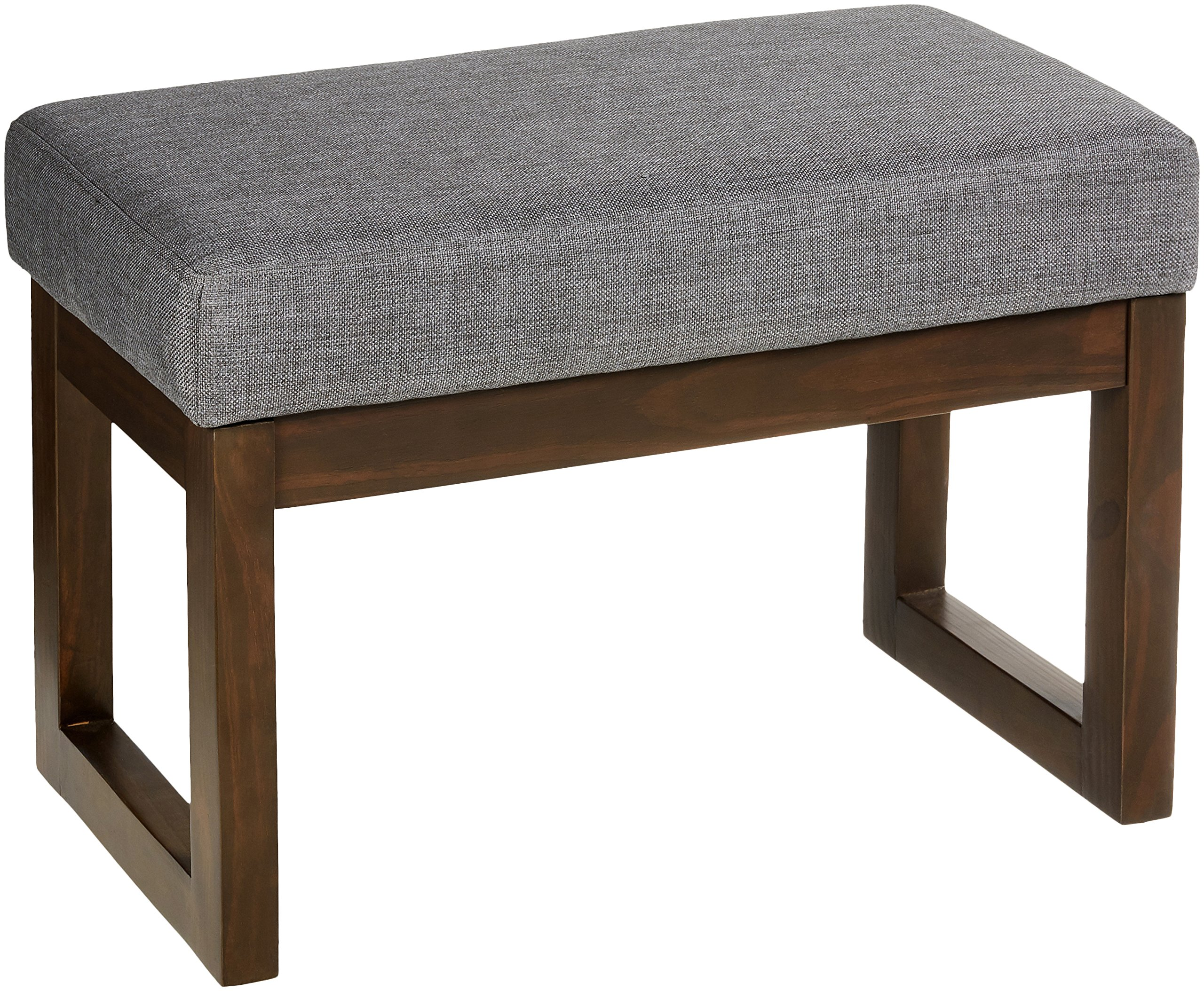 Red Hook Leda Rectangular Upholstered Ottoman Bench - 27 x 14.5 x 18.5 Inches, Stone Grey by Red Hook