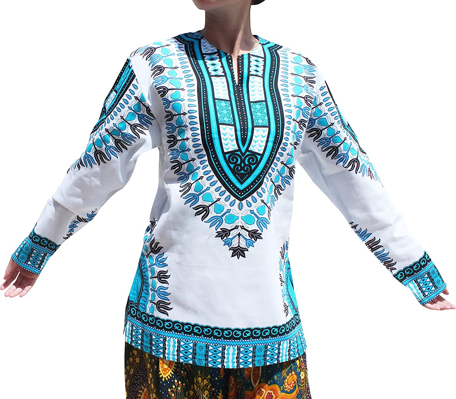 Raan Pah Muang Open Collar Long Sleeve African Dashiki Print Dance to Afrika Shirt variant45710AMZ
