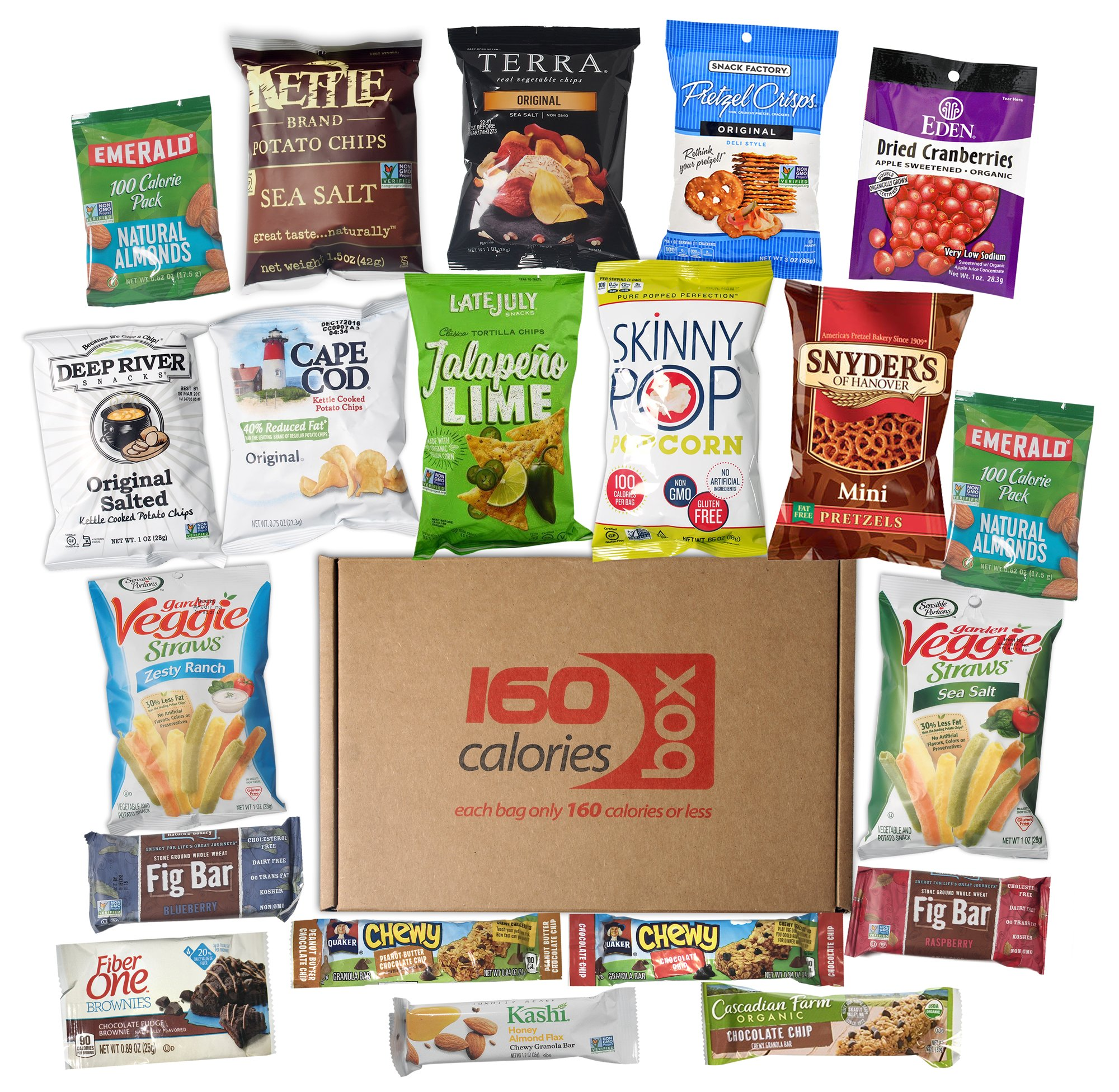Kosher Healthy Snacks Care Package Under 160 Calories | Sweet & Nutritious Bars, Nuts, Potato Chips, Veggie Straws & Others | For School, Adults, Work, Parties & Diet (20 Count) by Calories Box