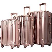 kensie Women's Alma Hardside Spinner Luggage, Rose Gold, 3 Piece Set (20/24/28)