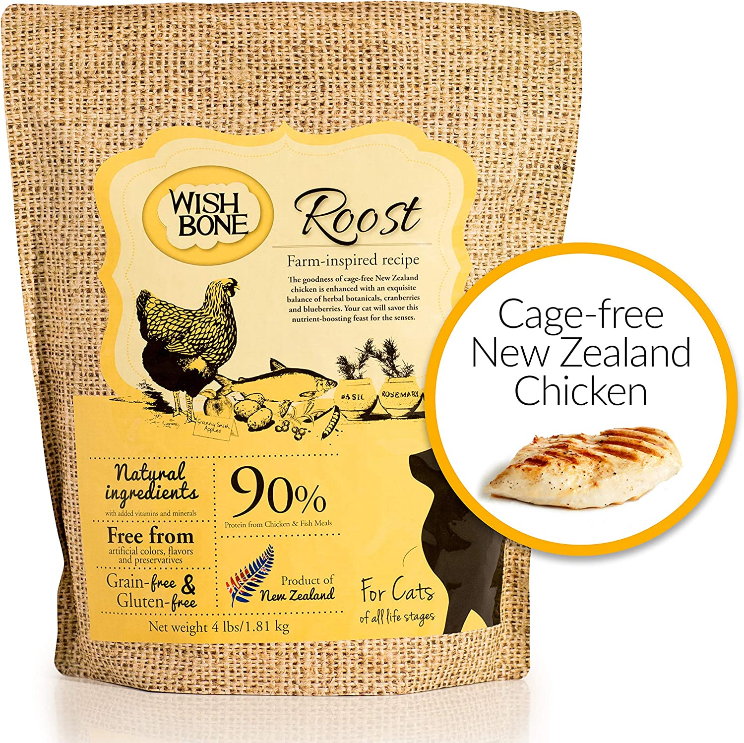 Wishbone Roost Grain-Free and Gluten-Free Cat Food, Made from New Zealand Chicken Cat Food, All Natural Dry Cat Food, High Protein, Minerals and Taurine Dry Cat Food, For All Cat Life Stages, 4lb