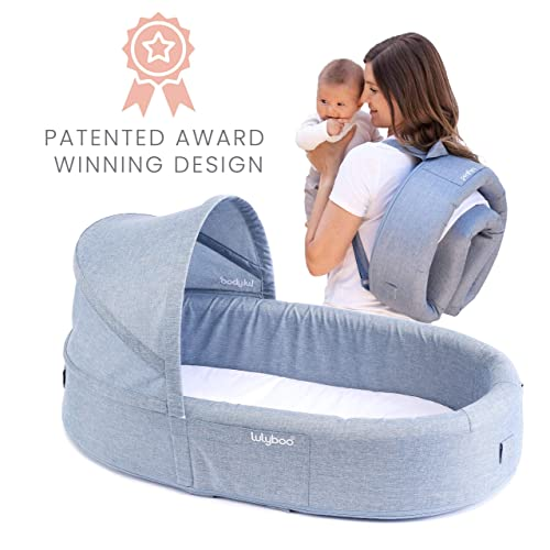 Lulyboo Bassinet to-Go Infant Travel Bed – On The Go Baby Lounger Backpack – Combines Crib, Playpen and Changing Station, Denim