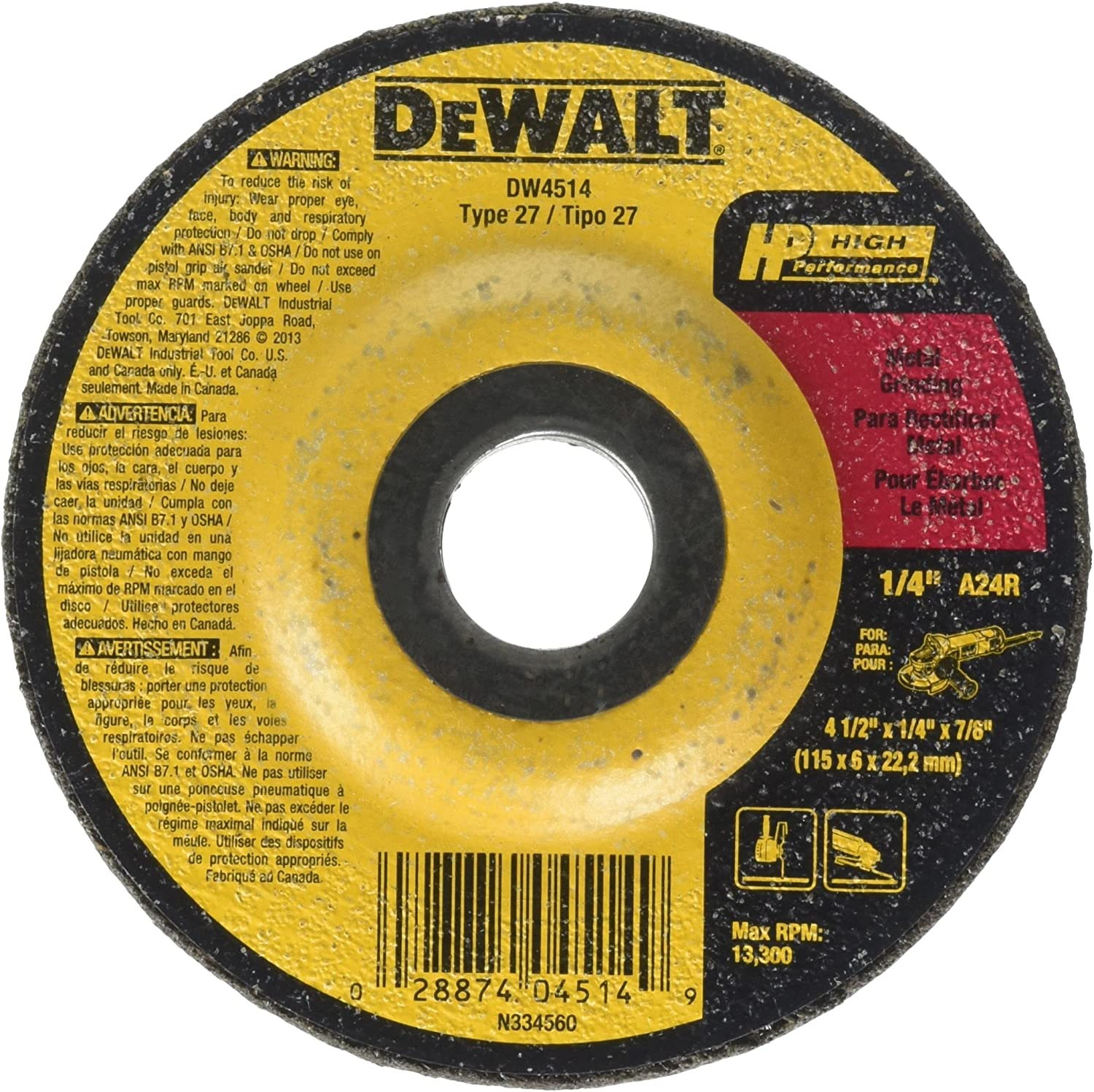 89 Pack Oxide 1//4 in Thick Depressed Center Wheel 7 in Dia 24 Grit Alum