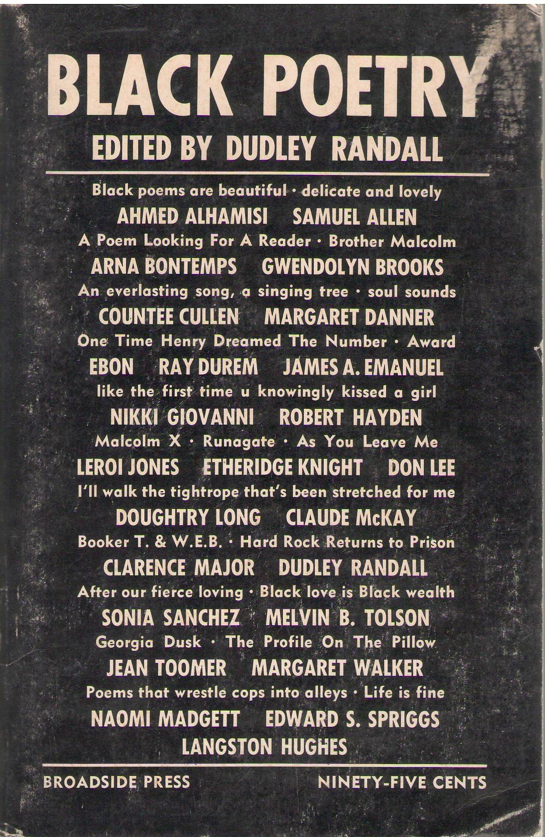 Black Poetry: A Supplement to Anthologies Which Exclude Black Poets: Dudley  Randall: Amazon.com: Books