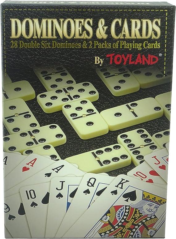 TOYLAND® Juego 2 en 1 - Domino Doble 6 y 2 Paquetes de Naipes - Juegos Familiares - Juegos de Mesa Clásicos: Amazon.es: Juguetes y juegos