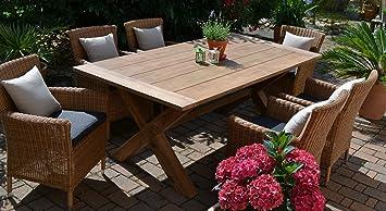 Teak Sitzgruppe Java X Garten Garnitur Tisch (200x100) Und 6 Sessel / Stühle