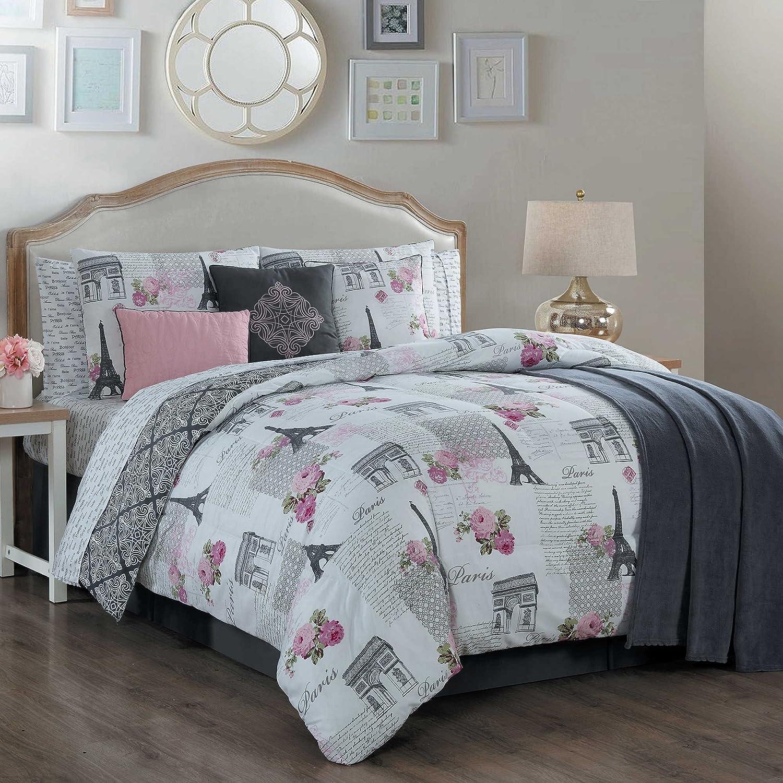 Amazon.com: Paris Themed Bedding Comforter Set with Eiffel Tower ...