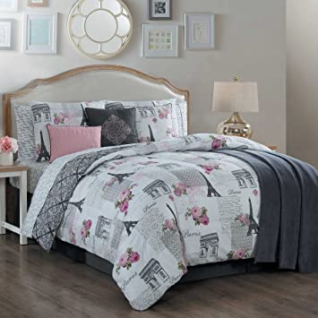 Paris Themed Bedding Comforter Set With Eiffel Tower Design Queen Or King  For Teens Or Adults