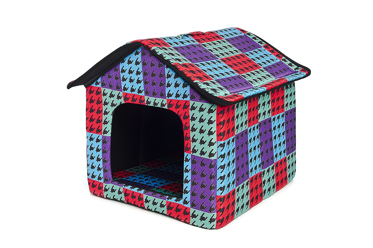 Ferribiella Cotton Dog Basket with Houndstooth Design 45 x 47 x 46 cm
