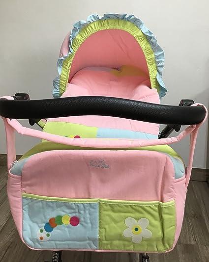 Funda para Grupo 0 universal para bebés + Capota + Bolso gusano rosa. Funda portabebés