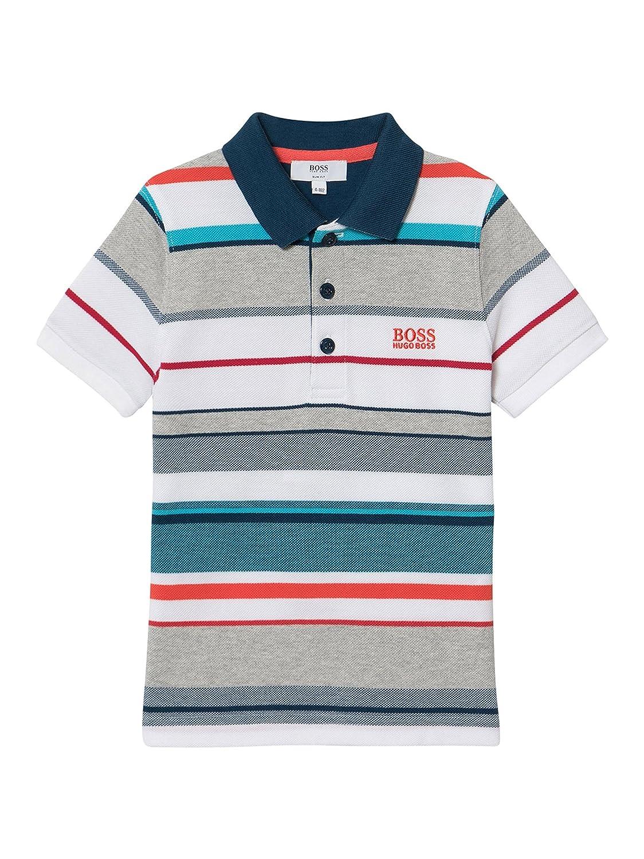 Hugo Boss Boys Multi-Coloured Striped Polo Shirt 16Y: Amazon.es ...