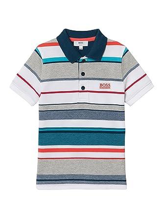 b5b4e42142cb Hugo Boss Boys Multi-Coloured Striped Polo Shirt 10Y  Amazon.co.uk  Clothing