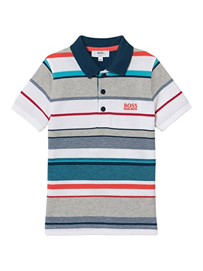 f88ff51a1 Hugo Boss Boys Multi-Coloured Striped Polo Shirt 16Y: Amazon.co.uk: Clothing