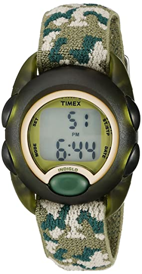 7c67b03c54a Timex Boys T71912 Time Machines Digital Green Camouflage Elastic Fabric Strap  Watch