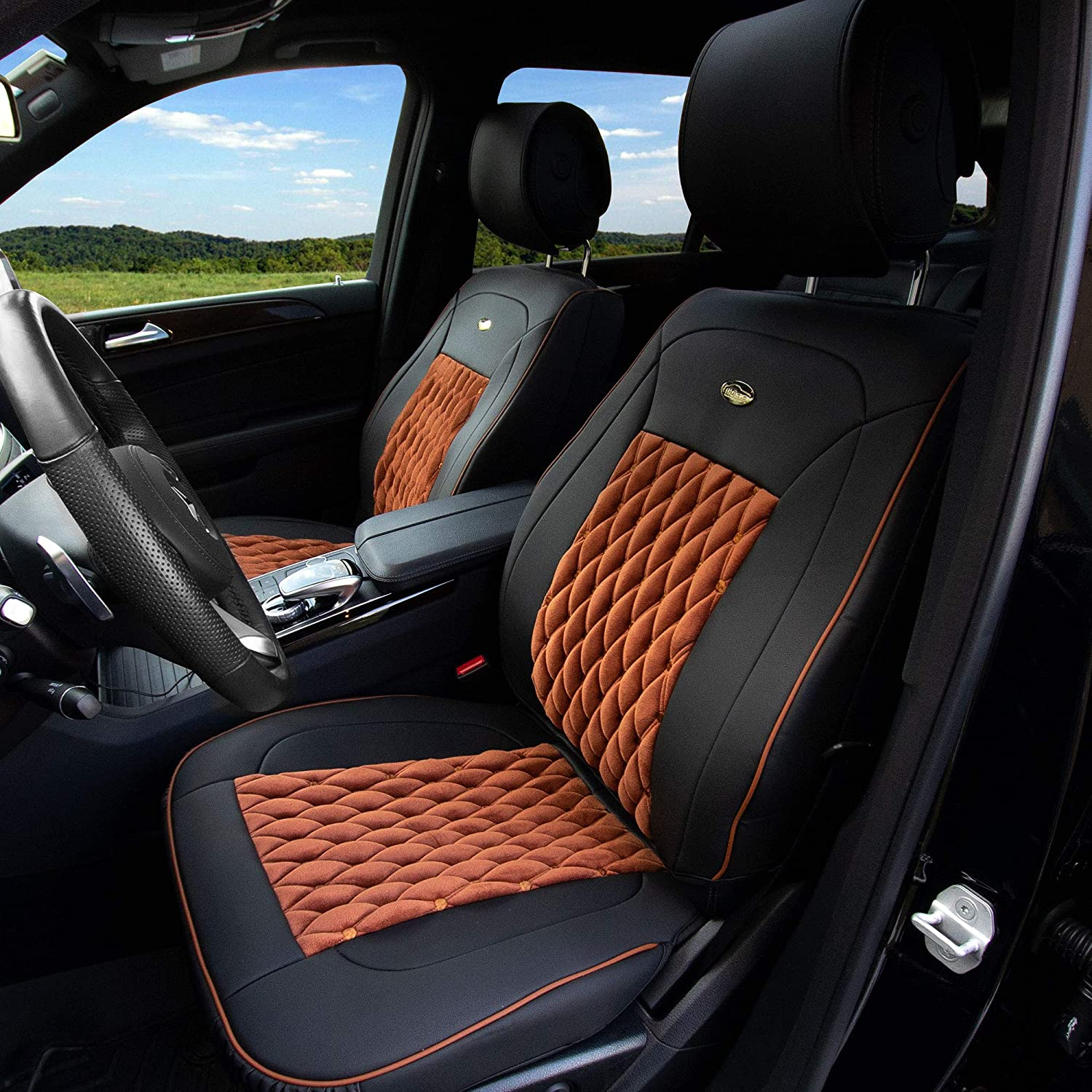 Amazon Com Tlh Victorian Style Luxurious Leather Seat Cushions Front Brown Black Color Universal Fit For Cars Auto Trucks Suv Automotive