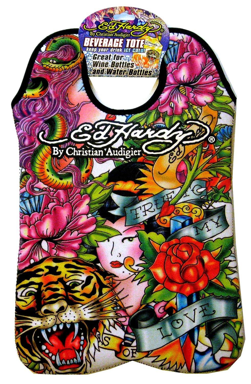 Ed Hardy designs von Christian Audigier Neopren 2 Flasche Wein Getränke Tote (Tatto Tiger Jane,)