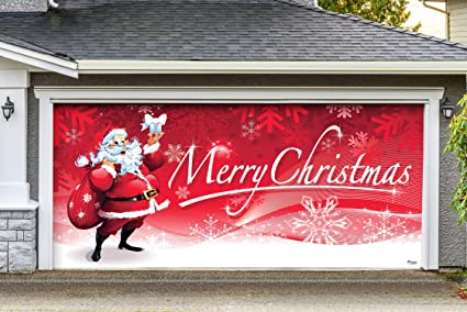 Victory Corps Outdoor Christmas Holiday Garage Door Banner Cover Mural Decoration 7 X16 Santa S Merry Christmas Outdoor Christmas Holiday Garage
