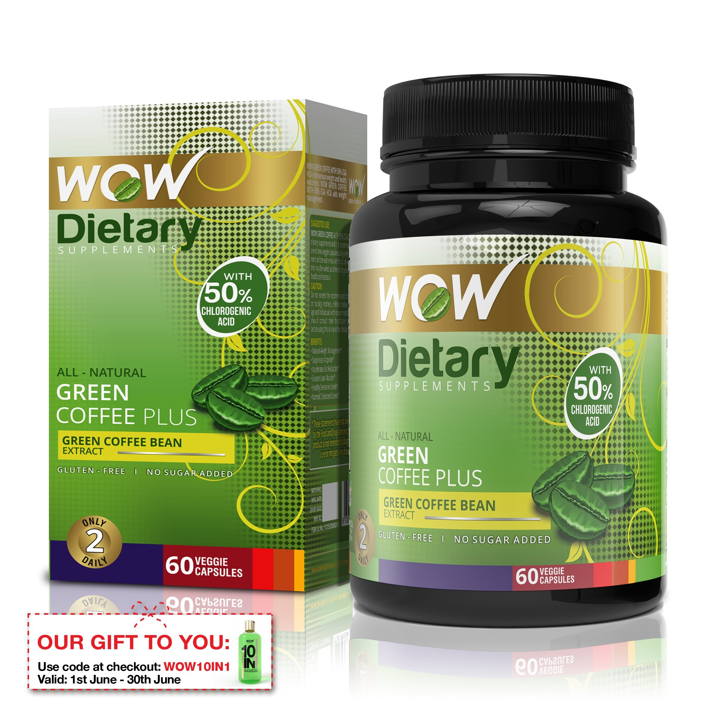 Wow Green Coffee Plus - 60 Vegetarian Capsules product image