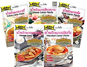 Lobo Variety Curry Paste (Red, Green, Yellow, Masaman, Panang Curry Paste - One of Each, 5 Total)