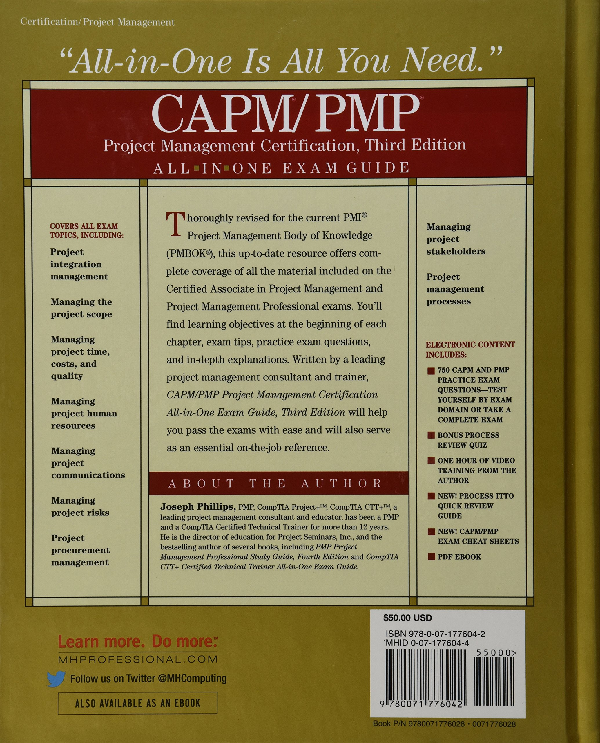 Amazon capmpmp project management certification all in one amazon capmpmp project management certification all in one exam guide third edition 9780071776042 joseph phillips books xflitez Image collections