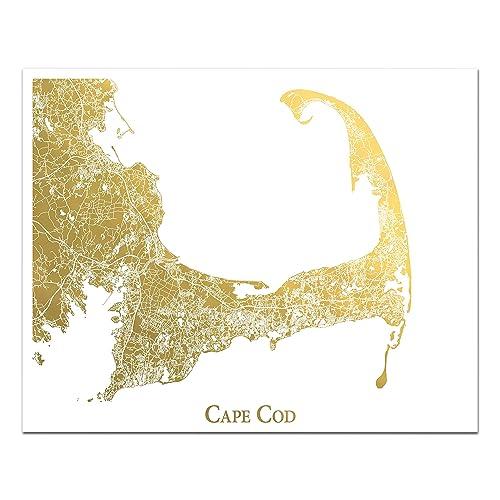Amazon.com: Cape Cod Map, Gold Foil Print, Perfect ...