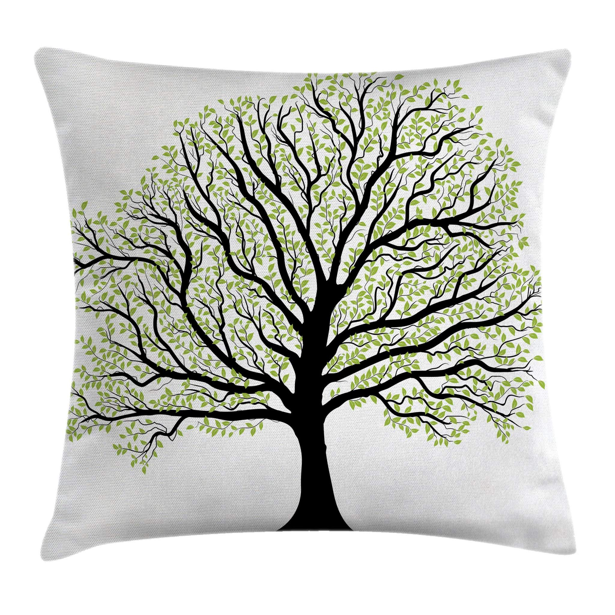 Ambesonne Tree of Life Throw Pillow Cushion Cover, Big Old Lush Tree with Lot of Leaves and Branches Nature Growth Eco Art, Decorative Square Accent Pillow Case, 24'' X 24'', Black White by Ambesonne