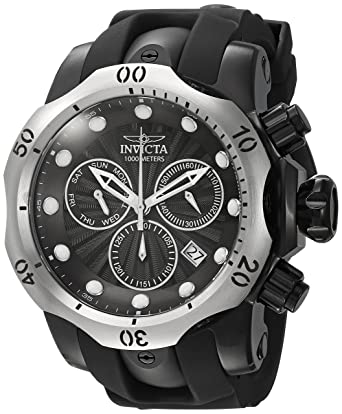 Invicta Mens Venom Quartz Stainless Steel and Silicone Casual Watch, Color:Black