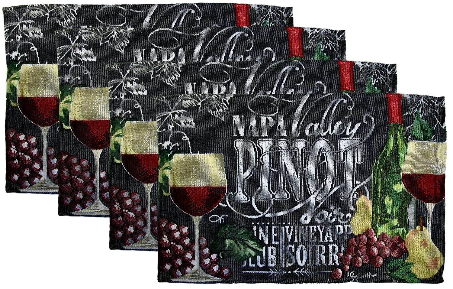 Set of 4 and Grapes Place Mats Chateau Wine Glass Woven Tapestry Wine Cheese