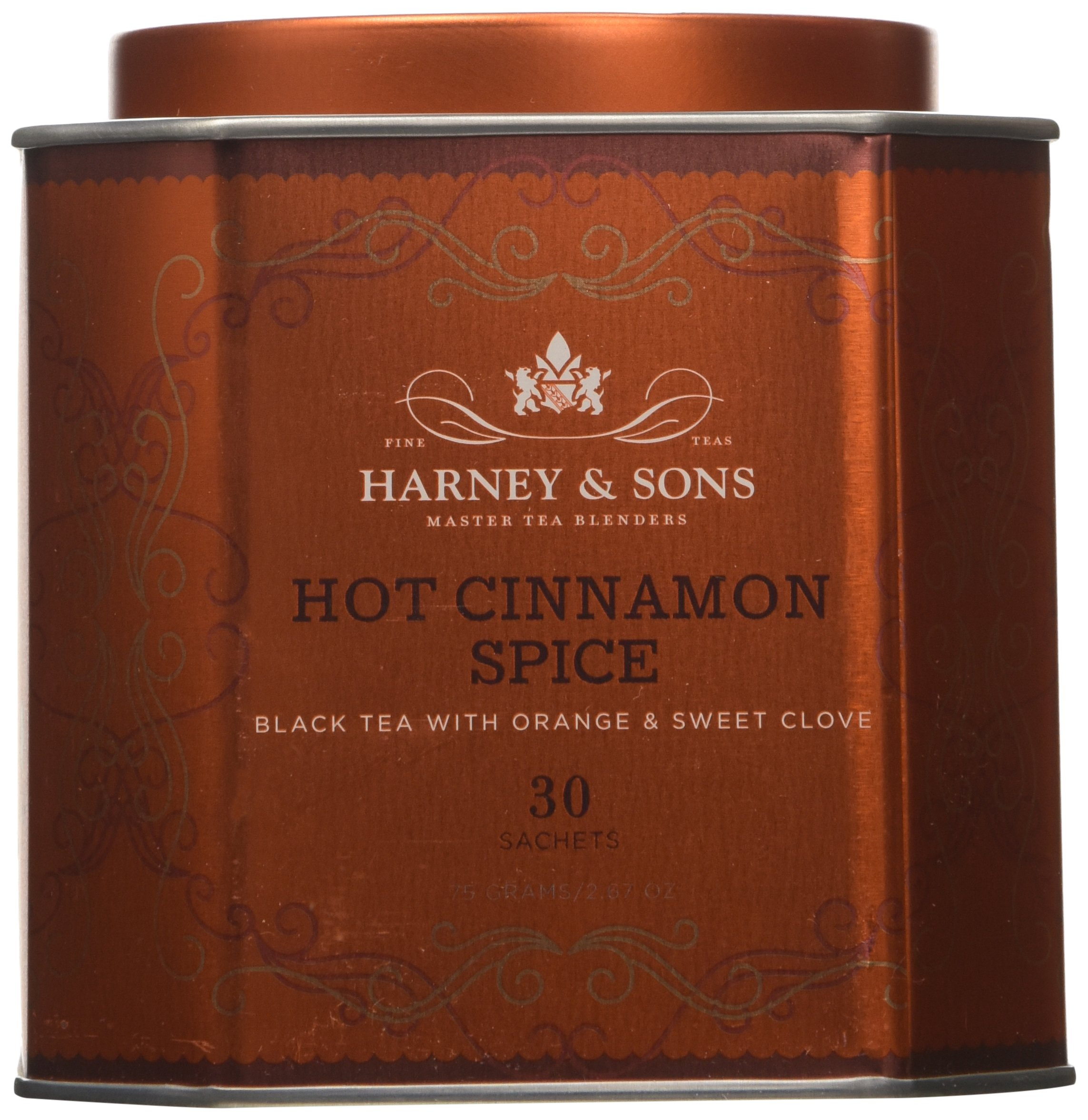 Harney & Sons Hot Cinnamon Spice Black Tea with Orange and Sweet Clove, 30 Sachets, Net Weight. 2.67 Ounce