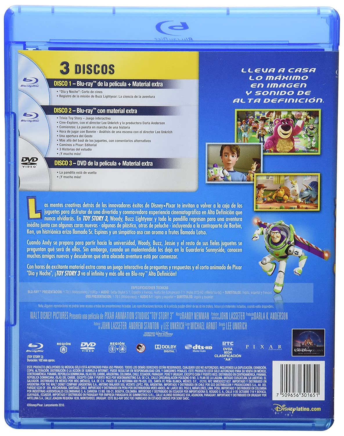 Amazon.com: Toy Story 3 : Spanish Audio Combo (2 Blu-ray + 1 DVD) Import: Movies & TV
