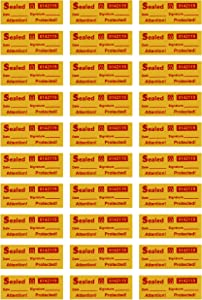 Seal - 100 Customs Stickers (Medium Yellow Labels) | Tamper Proof Security Tape with Unique Sequential Serial Numbers | Warranty Void Labels for Evidence & Quality Control | Includes Signature & Date