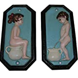 SET Nostalgisches WC Toiletten Türschild Eisen Schild Junge/Mädchen Damen/Herren