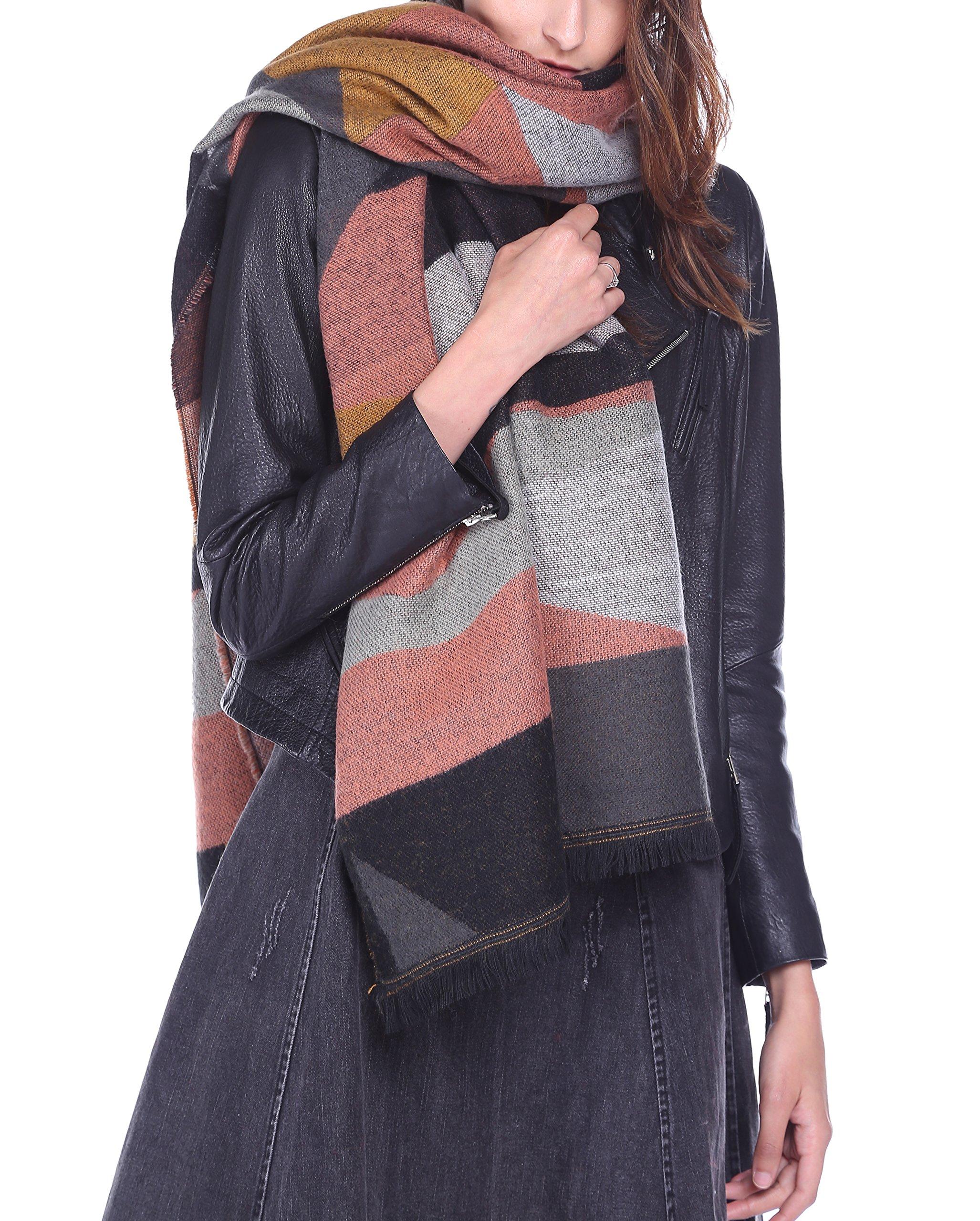 Afibi Women's Long Color Block Blanket Shawl Fashion Winter Warm Large Scarf (Orange)