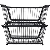 Stacking Metal Baskets, Set of 2, for Pantry, Closet, Shelf Organization, by HomeSimple (Black)